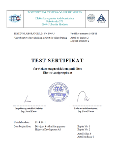 Test sertifikat for elektromagnetisk kompatibilitet